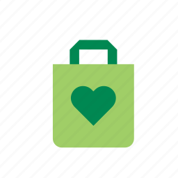 bag, environmental, green, heart, natural, nature, recycling icon