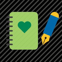 eco, environmental, green, heart, natural, nature, notebook icon