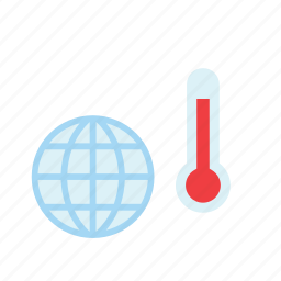 global warming, globe, nature, temperature, thermometer, weather, world icon