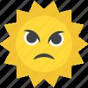 angry sun, cartoon sun, hot weather, nature, summer season icon