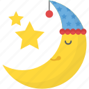 moon and stars, nature, party night concept, pleasant night, smiling moon icon