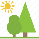 greenery, natural view, park, scenery, sun with trees icon