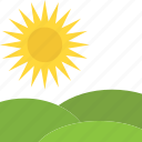 sunny day, greenland, sunshine, landscape, nature icon