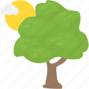 forestry, greenery, nature, sun and tree, sunny cloudy weather icon