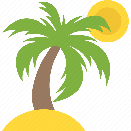 island, palms and beach, sea panorama, summer vacation, tropical beach icon
