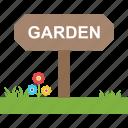 garden board, nature scene, park board, signage, signboard icon