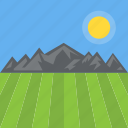 hilly area, landscape, nature view, rural land, summer fields icon
