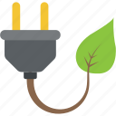 ecology concept, energy conversion, green energy, leaf with plug, power solution icon