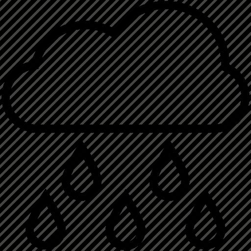 cloud, forecast, raindrops, raining, rainy weather icon