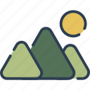 hiking, mount, mountain, nature, sun, tracking icon