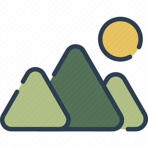 hiking, mount, mountain, nature, sun, tracking icon