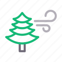 blowing, green, nature, tree, wind icon