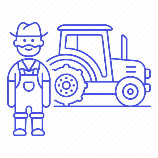 1, agricultural, agriculture, farm, farmer, farming, machinery, male, nature, tractor icon