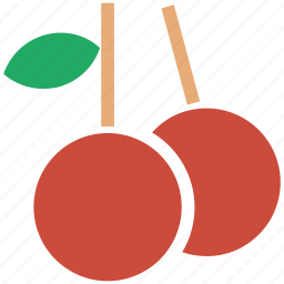 berry, berry with leaf, cherries, cherry, food, fresh fruit, fruit, fruits, litchi icon