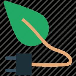 eco energy, ecology, ecology power, energy ecology, leaf, power cord icon
