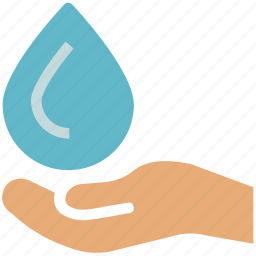 drop on hand, ecology, hand holding water drop, water drop icon