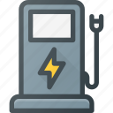 car, electric, plug, recharge, recharger, station icon