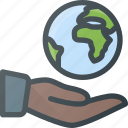 care, global, globe, hand, hold, planet, protect icon