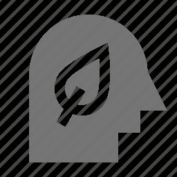 leaf, nature, person, plant, user icon