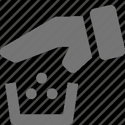 hand, trash icon