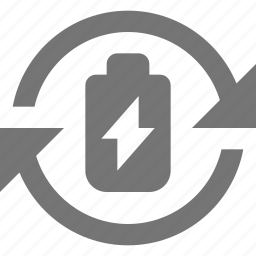 arrows, battery, flash, rechargable icon