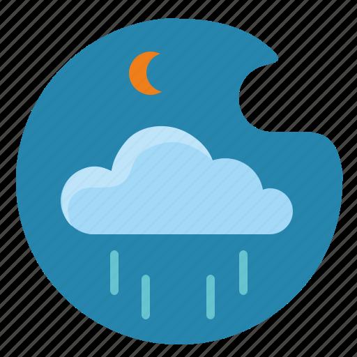 cloud, moon, night, rain, sky icon