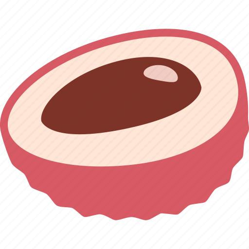 color, fruit, half, litchi, lychee, pit, seed icon