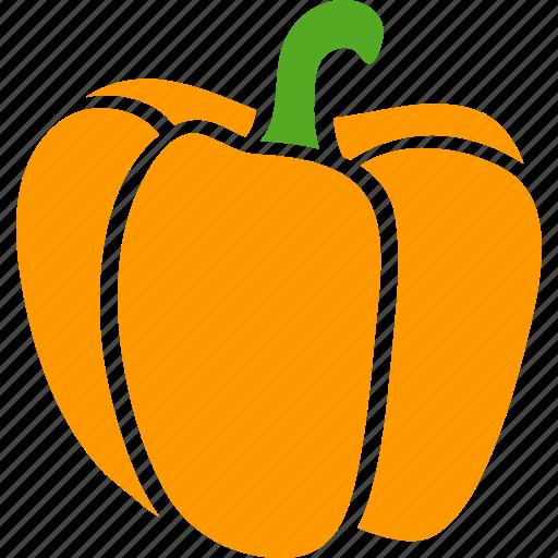bell, capsicum, orange, pepper, sweet, vegetable, yellow icon