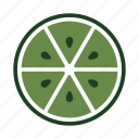 drink, food, fresh, half, juicy, lime, seeds icon