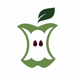 apple, core, delicious, eat, green, nature, seeds icon
