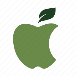 apple, bite, colour, eat, green, nature, solid icon