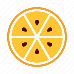 delicious, eat, fresh, half, orange, sections, seeds icon