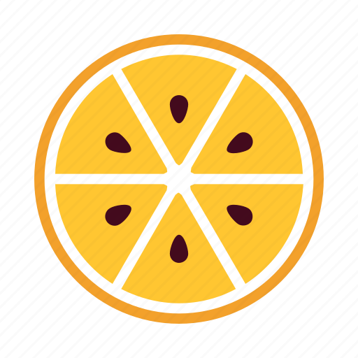 delicious, eat, fresh, half, orange, sections, seeds icon