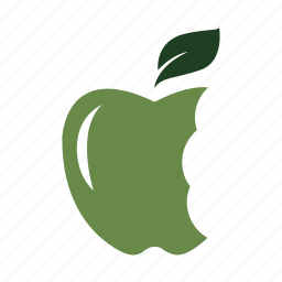 apple, bites, eat, green, health, hungry, nature icon