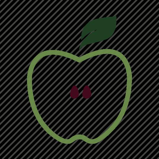 apple, core, green, half, learn, nature, slice icon