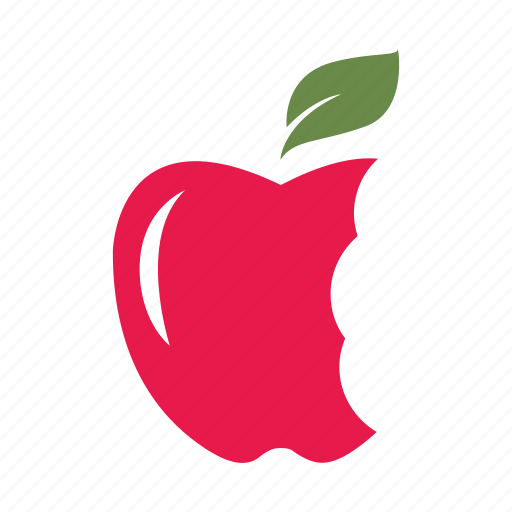 apple, bites, each, fresh, hungry, nature, red icon