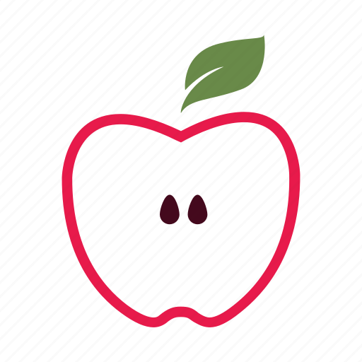 apple, core, half, inside, nature, red, seed icon