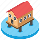 coastal area, flood protection, home, seashore, stilt home icon