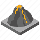 earthquake, lava, natural disaster, volcanic eruption, volcano icon