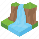 barrage, coastline, nature, scenery, waterfall icon