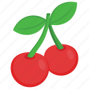 berries, berry fruit, cherries, food, fruit icon