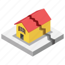 accident, aftershock, earthquake, home destruction, natural disaster icon