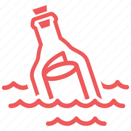 bottle, communication, email, letter, mail, message, message in a bottle icon
