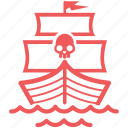 alert, battleship, boat, danger, freedom, marine, nautical, pirate, sail, sailing, sea, ship, vessel, warship icon