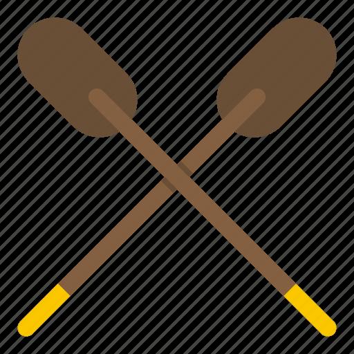 canoe, oar, paddle, river, sea, sport, water icon