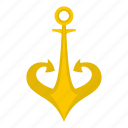anchor, gold, marine, metal, nautical, old, security icon