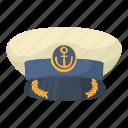 cap, captain, cartoon, hat, officer, sea, ship