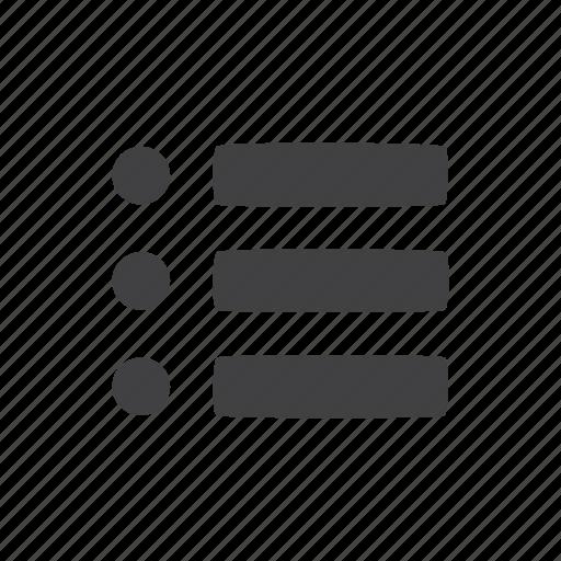 bullet, list, menu icon