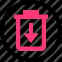 arrow, can, trash icon