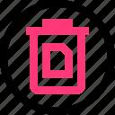 document, file, trash icon